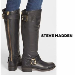Steve Madden Knee High Leather Motorcycle Boot